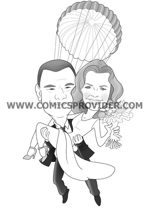 invito di nozze con gli sposi che scendono con il paracadute