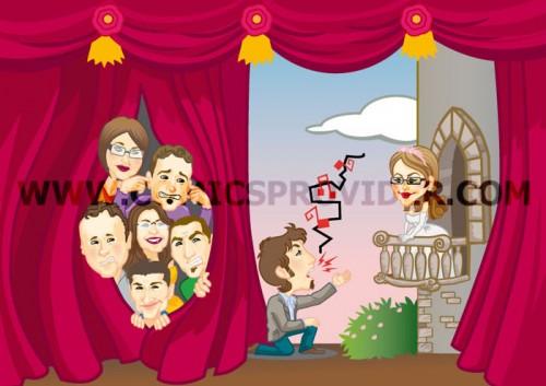 Partecipazione con sposo che intona una serenata.