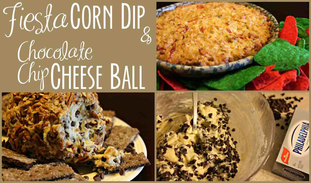 Simple Holiday Snack Solutions - Chocolate Chip Cheese Ball and Fiesta Corn Dip
