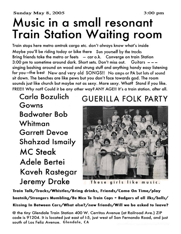 Music in a Small Resonant Train Station Waiting Room Flyer