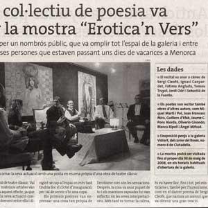 «Un recital col·lectiu de poesia va inaugurar la mostra 'Eròtica'n Vers'»