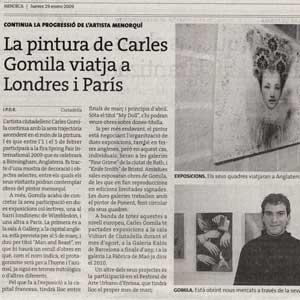 «La pintura de Carles Gomila viatja a Londres i París»