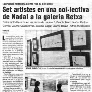 «Set artistes en una col·lectiva de Nadal a la galeria Retxa»