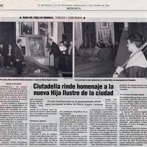 «Ciutadella rinde homenaje a la nueva Hija Ilustre de la ciudad»