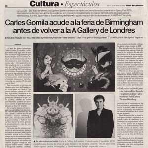 «Carles Gomila acude a la feria de Birmingham antes de volver a la A Gallery de Londres»