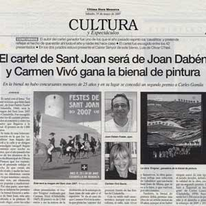 «El cartel de Sant Joan será de Joan Dabén y Carmen Vivó gana la bienal de pintura»