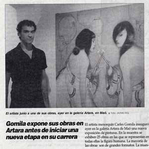 «Gomila expone sus obras en Artara antes de iniciar una nueva etapa en su carrera»