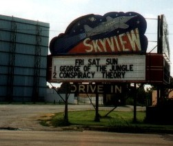 Skyview Drive-In marquee and screen