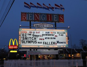 Bengies drive-in marquee at twilight.