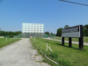 Wilmington Drive-In sign and distant screen