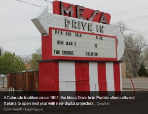 Mesa Drive-In marquee with photo credit