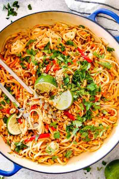 BEST EVER Chicken Pad Thai (Video) with Pantry Friendly Ingredients!