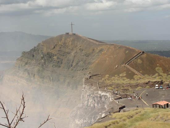 cross above volcano