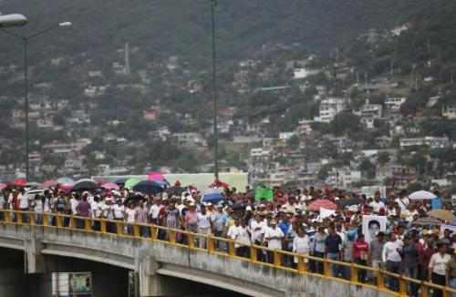 Photo courtesy of Reuters/Jorge Dan Lopez: Protest marchers in Acapulco, Oct 2014