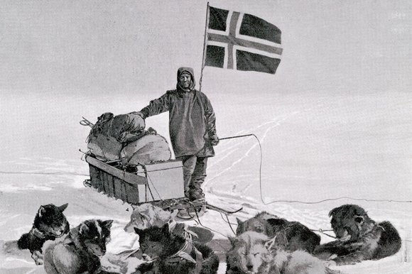 Amundsen with dogsled and flag