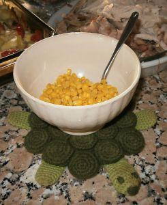 Turtle Trivet holding Squanto's Corn