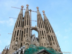 Spires and cranes of Sagrada Familia