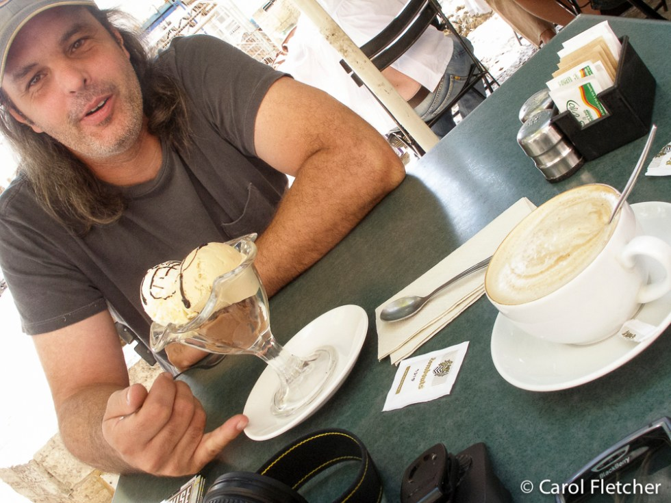 Bryan, Ice Cream, and Cappuccino near Hurva Square