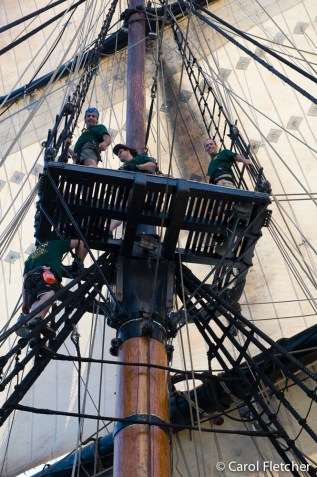 Bryan on the rigging of the HMS Bounty