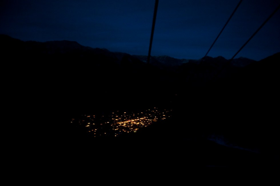 Telluride from the gondola in the deep quiet solitude of the mountainside