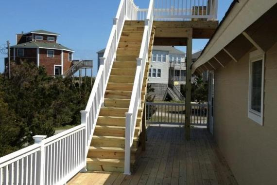 Outer Banks beach box renovation side deck