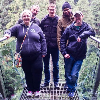 Hanging out over a 300-foot drop. Me, Richard, Thomas, Allan, and DK.