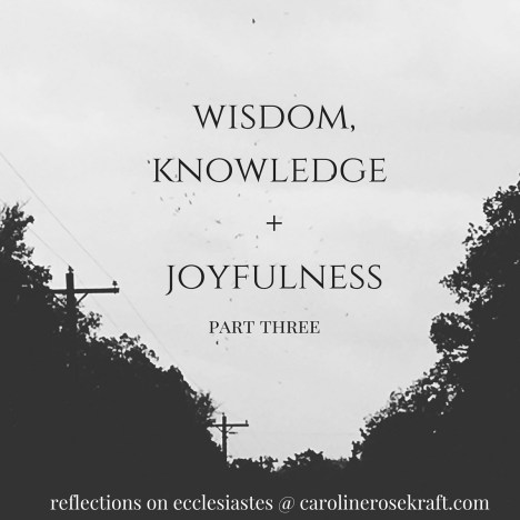 Wisdom, Knowledge + Joyfulness: Part Three carolinerosekraft.com