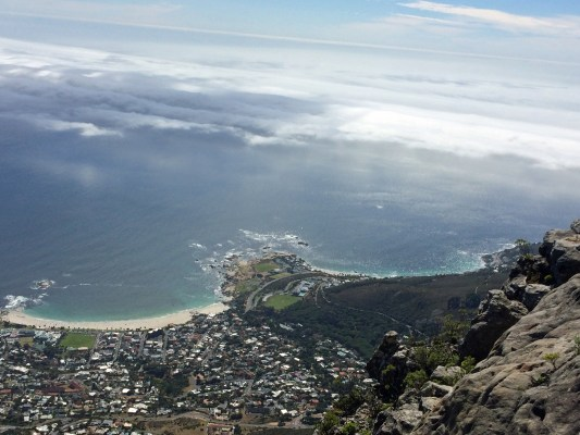 View from the top at Table Mountain in Cape Town.