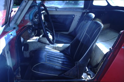 The original seats and coverings appear to still be in place as was the carpet before I tore it out for a little closer inspection of possible rust. The new interior color will be red.