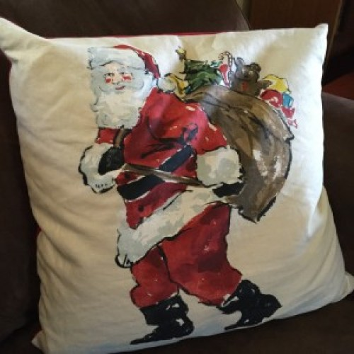 The Christmas pillow on my couch in June