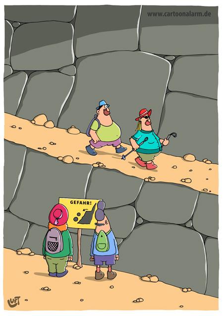 Thomas Luft, Cartoons, lustig, Steinschlag