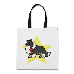 Black bicolor sheltie tote bag