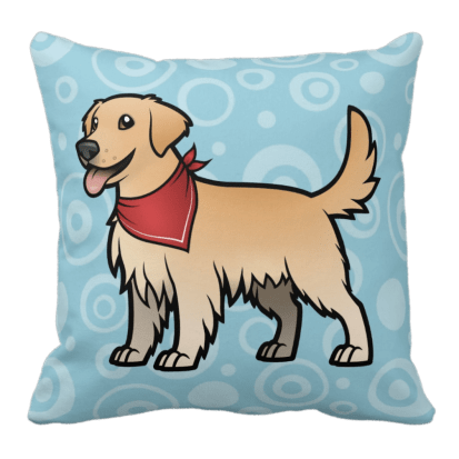 Caroon Golden Retriever with red bandanna on throw pillow