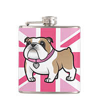 Cute bulldog pink union jack hip flask