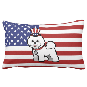 American Flag Bichon Frise Pillow