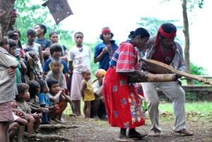 An Elder and Datu playing the Umajamnen Muscial Instruments