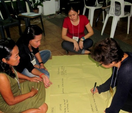 Bajau teachers consolidate their input on community assessment with the help of Cha Lopez (second from right) and Verinica Tarabi (rightmost).