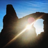 Sun Shining Through Turret Arch