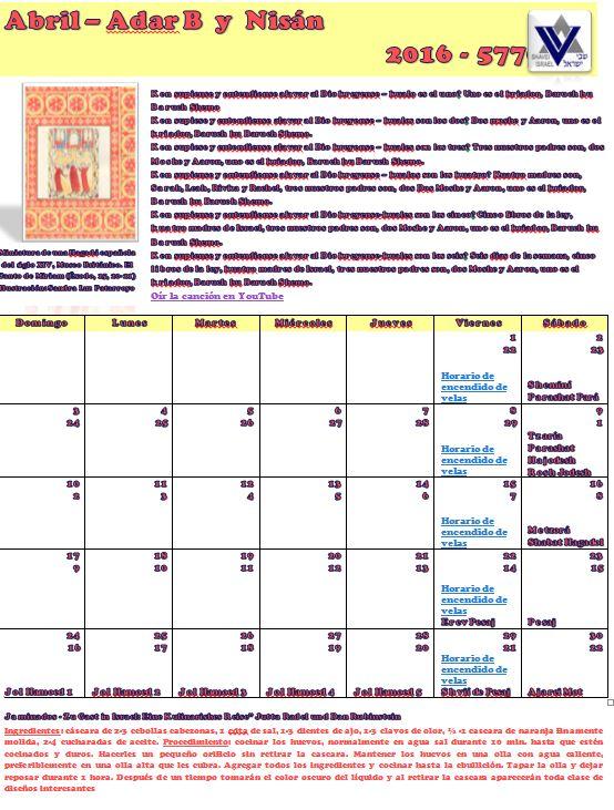 Calendario del mes de Abril