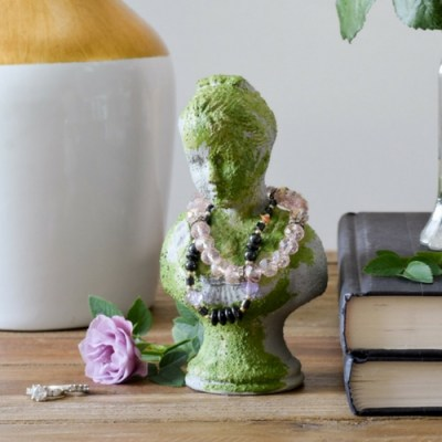 DIY Faux Concrete and Moss Bust Jewelry Holder