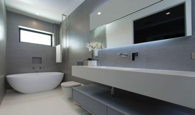 Baño Minimalista Gris:Imagenes impactantes de baños modernos esta temporada – Suministros