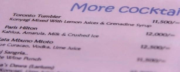 The Toronto Tumbler — a drink on the menu for Mercury's in Zanzibar
