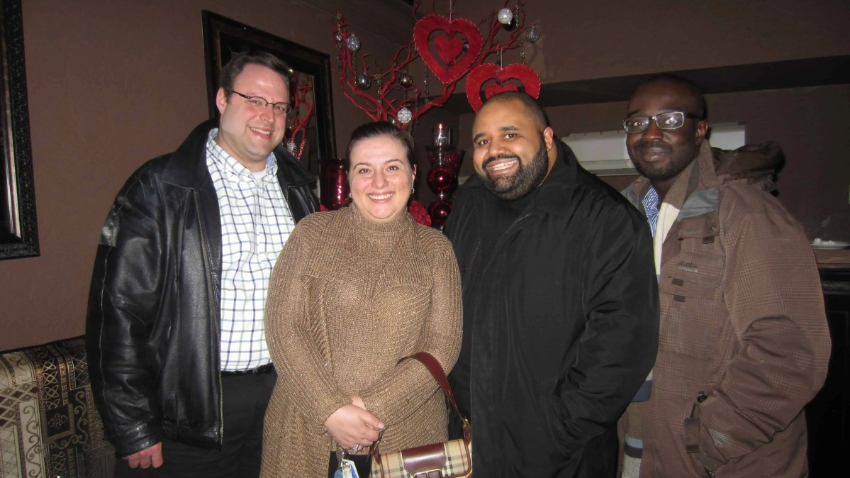 Left-to-right: Chris Vollick, Christine Pantazis, Justin Baisden and me!