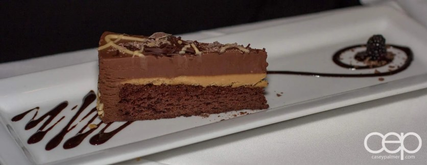 A slice of chocolate cheesecake at The Martini House in Burlington.