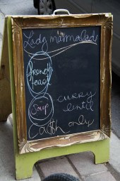 The Lady Marmalade sign board displaying its delicious daily specials!