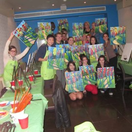 #BuytopiaPaintNite — Paint Nite Toronto — Banu — Group Shot — All the Buytopia Inner Circle Bloggers and their works of art!