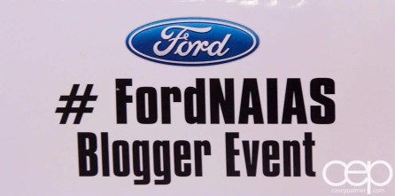 #FordNAIAS 2014 — Day 2 — Cobo Hall — Grand Rivierview Ballroom — Behind the Blue Oval — Blogger Area — Sign — Ford #FordNAIAS Blogger Event