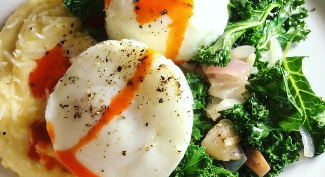 Kale, Polenta with Poached Eggs