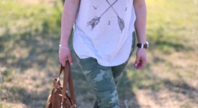 Camo Pants and Arrow Tee