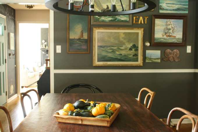 #EclecticallyFall Gourd centerpiece nautical gallery wall